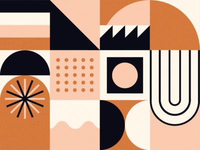 let's talk about shapes, baby. let's talk about you and me. pink minimal abstract design modern cream texture vector illustrator graphic inspiration orange balance grid shapes color illustration digital illustration