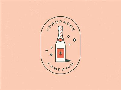 champagne campaign simple illustration graphic designer color inspiration orang green peach sparkle clean illustrator bubbly badgedesign badge champagne