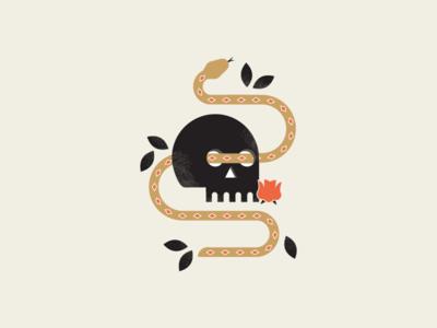 snake & skull illustrator simple design dark black inspiration compsition simple skull snake halloween spooky illustration design