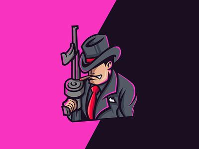 mafia character mascot illustration no life gangster mafia logo