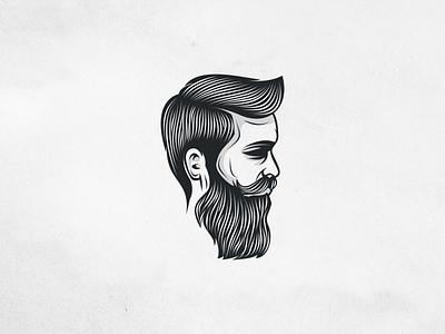 Beard Man FORSALE vintagezine texture negative shadow mask logo man icon illustration fedora brand black beard