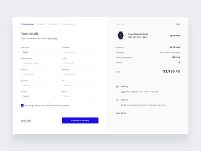 Watches shop checkout store app panel modern ux ui store shop product tokens checkout form clean minimalism minimal flow interface website design watches watch