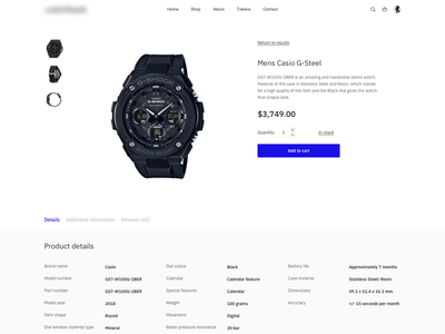 Watches shop product page whitespace white design website watches ui ux tokens store product page modern minimalism minimal interface clean design clean