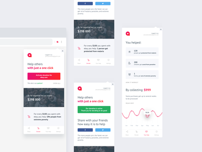 Altruisto extension finance money ux ui app design store people modern minimalism interface help flow extensions donate clean chrome charity extension app