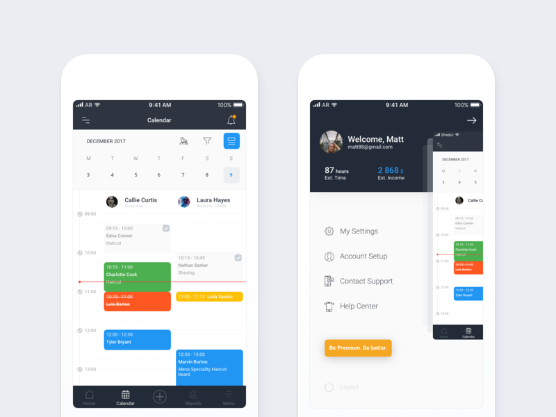 Calendar color menu ux ui tasks mobile reservation clean minimal calendar material app