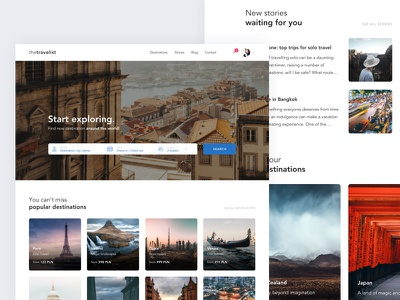 Travel concept page ux ui world search minimal interface design photography clean travel landing website