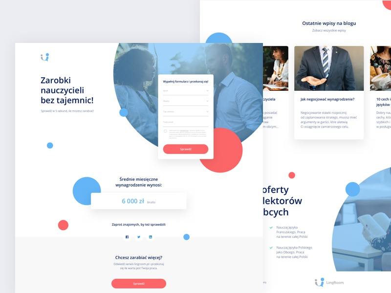 Calculator landing page for Lingroom money website ux ui teacher learning language minimal landing interface design clean