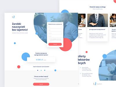 Calculator landing page for Lingroom money website ux ui teacher learning language minimal landing interface design clean