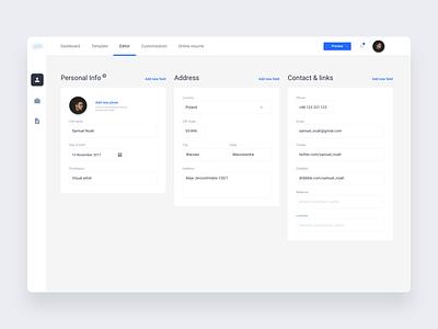 CV settings panel ux ui modern settings panel minimal interface cv design dashboard clean app