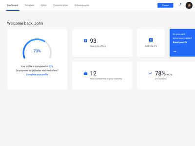 CV dashboard user minimalism flat ux ui panel modern minimal interface design dashboard cv clean app