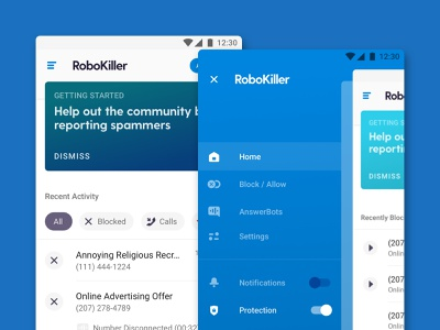 RoboKiller Android clean light mobile ui spammer block call spam product app mobile android