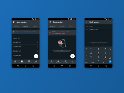 RoboKiller Android - Block & Allow numbers add allow block mobile app mobile ui android