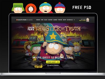 SouthPark redesign website web landing free psd exercise psddd