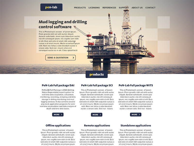 Pen-Lab homepage home landing corporate oil drilling logging mud rig offshore