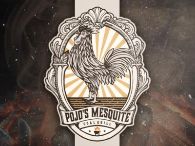 Pojo's mesquite BBQ branding designs vector design illustration logo restaurant vintage logo restaurant logo rooster logo bbq logo