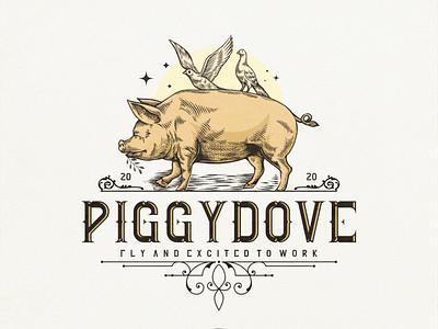 PIGGYDOVE branding typography design vector designs logo illustration pixel art vintagelogo vintage dove piggy pig