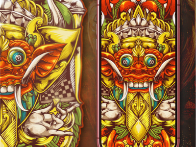 Barong sports illustration flame fire esports brand skull branding designs logo balinese bali barong