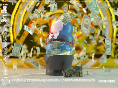 two sides of the same render doll matryoshka origami vectary 3d world political money illustration 3d art