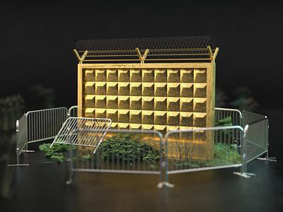 utilitarian functions urban po-2 punk landscape east russia vectary 3d render cgi 3d conceptual illustraion art fence brutalism architecture