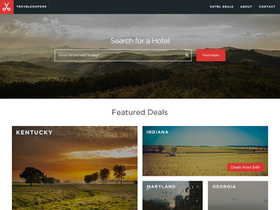 TravelCoupons Home Page {WIP} travel coupon desktop responsive search hotel