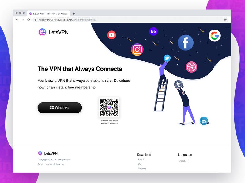 LetsVPN - Promotion Page homepage win8 design illustration branding windows app 梯子 翻墙 科学上网 vpn app ui  ux ss privacy accelerate