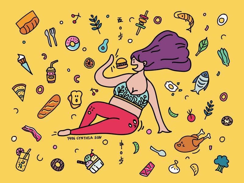 Cate/food/yellow doodle 插图 情感设计 平插图ui设计