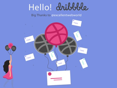 Hello Dribbble!!! minimal ui illustration icon animation photoshop branding app animation invitation design invitation hellodribbble dribbbleinvites web design logo ux-ui web dibbble app