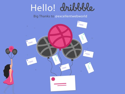 Hello Dribbble!!! minimal ui illustration icon animation photoshop branding app animation invitation design invitation hellodribbble dribbbleinvites web design logo ux-ui web dibbble app