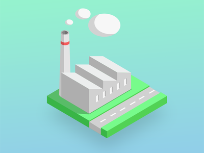 Factory grass road icon isometric factory