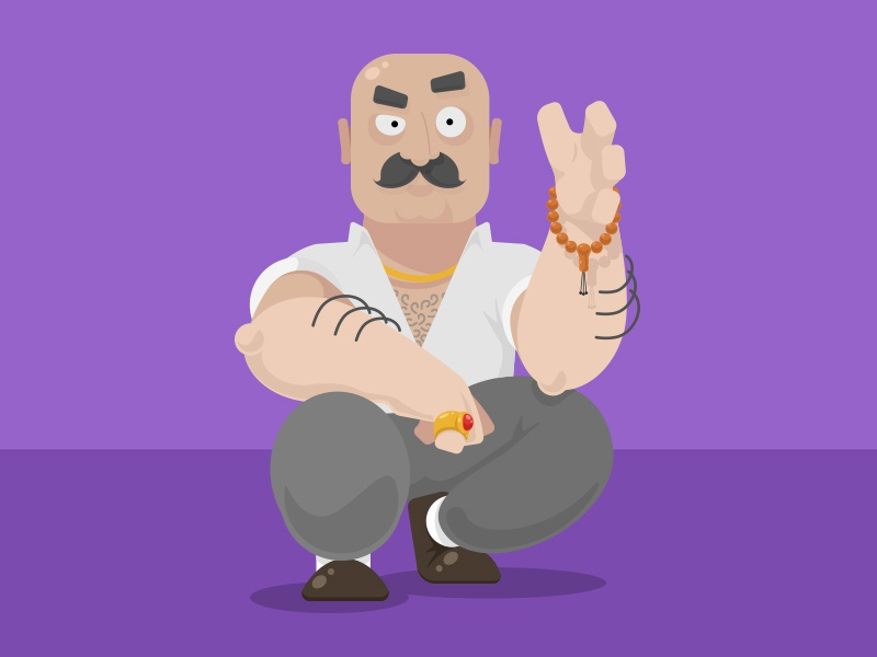 Keko character art design bald flat vector illustration mustache rude mean man