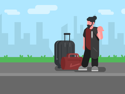Hitchhiker design waiting trip travel luggage man art vectorart hitchhiking illustration vector