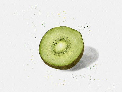 Kiwi watercolor painting illustration