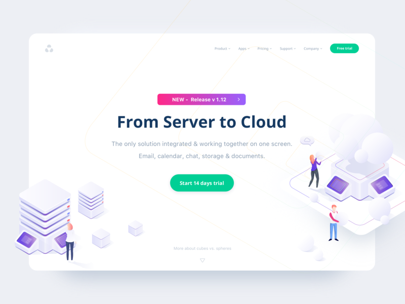 Cubes vs. Spheres storage landingpage trial data migration typography isometric isometry cloud server 2d ux ui gradient colours character interface web vector illustration