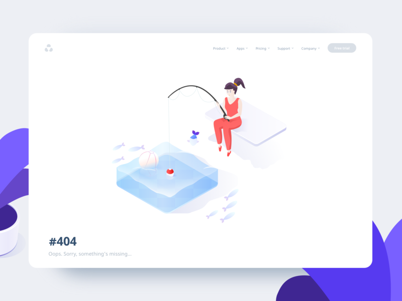 Fishout - Web page error isometry flat mistake girl ball pool water fish fishing character website page error page 404 error 2d icon web vector illustration