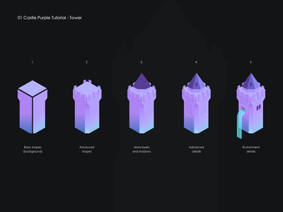 How to: Castle Purple Tower colourful gradient tutorials waterfall concept isometric art isometric isometry castle tower howto tutorial illustrator 2d design vector illustration