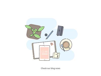 Blog News ux ui ipad blog coffee ladybird illustration vector office workplace flower book