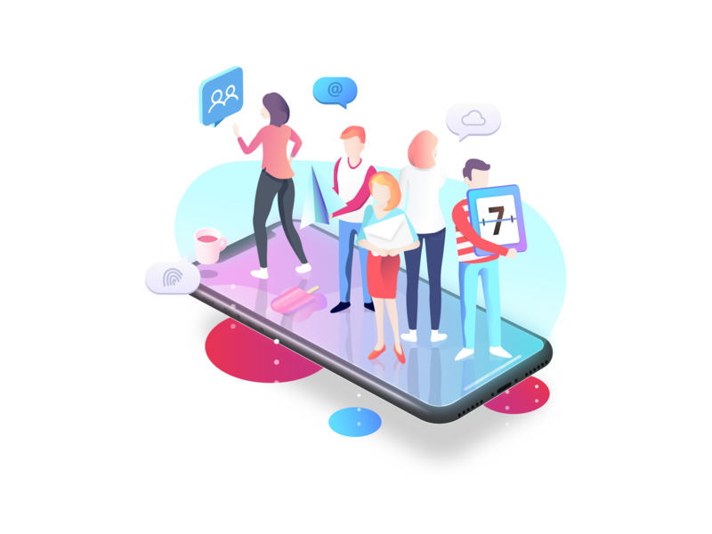 Teamchat - All in one team chat adobe sketch app illustrator iphone mobile graphic 2d isometric girl character colours icon ui web design vector illustration