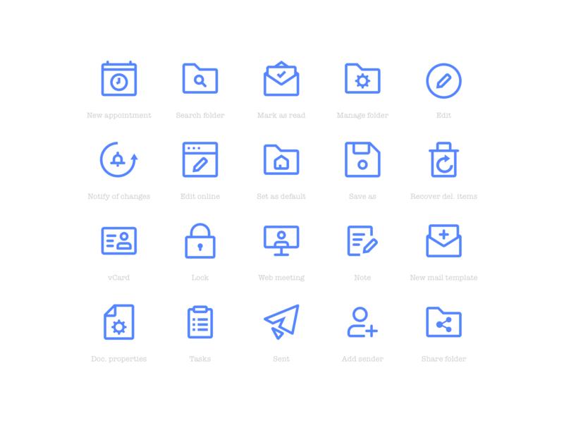 Blue iconset card meeting document edit user lock trash folder mail calendar app interface ux ui web design vector icons iconset icon