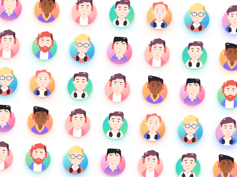 Avatars graphic company support flat portraits man face people avatars avatar 2d character colours gradient icon web design vector illustration