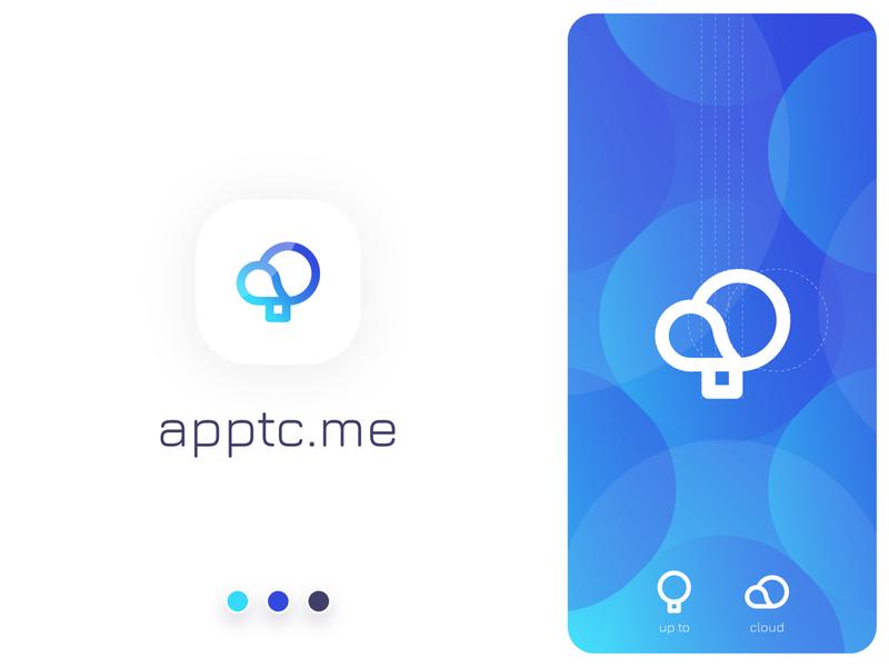 App2Cloud baloon concept mark cloud website identity symbol brand flat app typography branding logo gradient icon design vector illustration