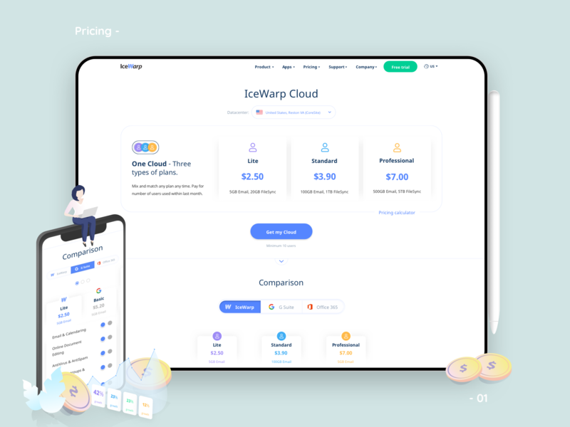 Pricing exploration & solution comparison page landing price plans vector illustration icon icons mobile solution subscribe cloud data ux ui website builder website web pricing