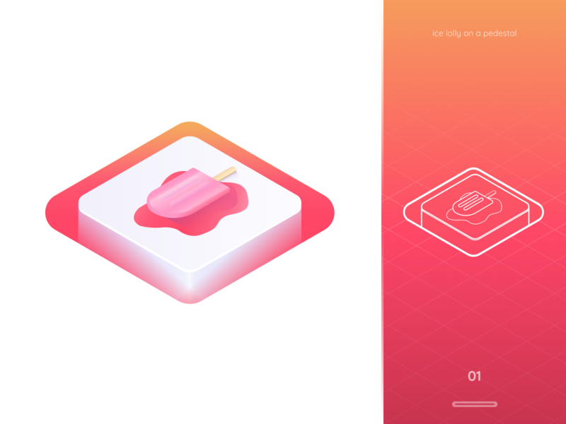 ice lolly on a pedestal ice cream study icecream outline flat pink lolly ice logo 2d web gradient colours icon design isometry isometric vector illustration