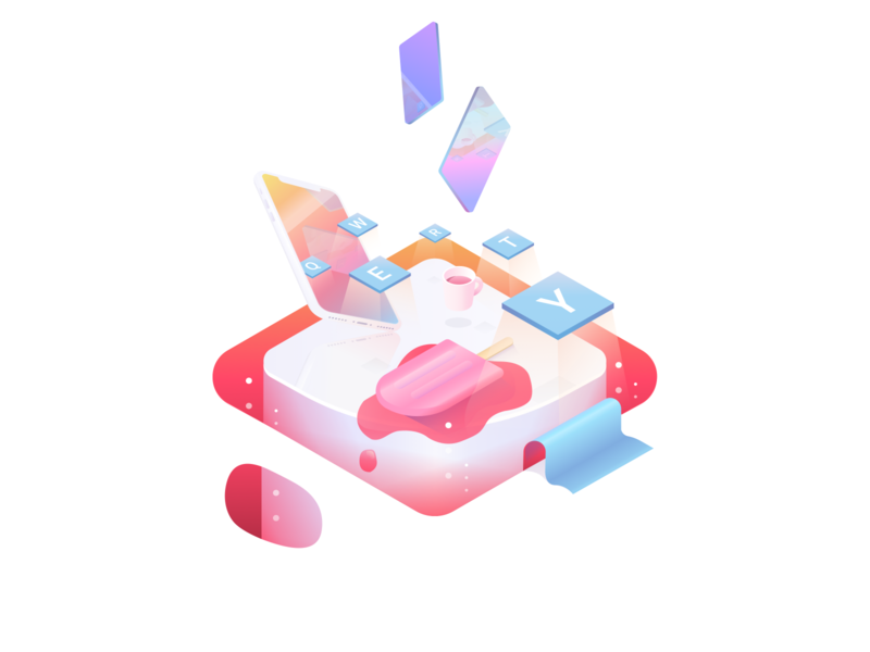 """IceChat """"Rebounded"""" letter illustrator mirror table tools icecream lolly iphone mobile chat isometric 2d colours gradient ui icon web design vector illustration"""
