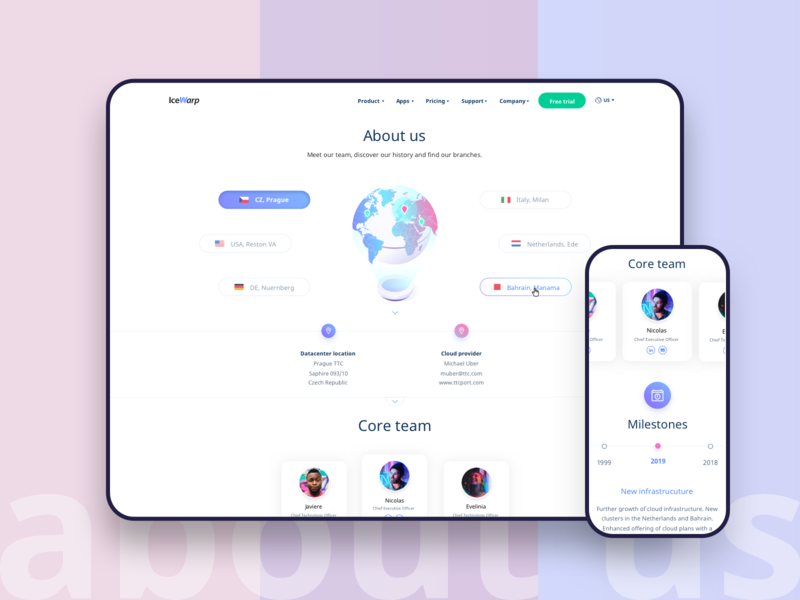 About us world ux mobile selector avatar profile technology team map landingpage landing website typography interface colours gradient ui icon web illustration