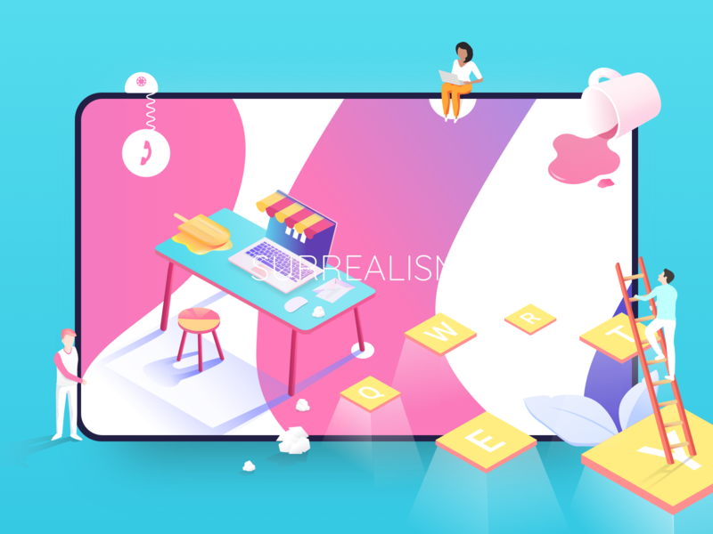 Colorful Surrealism shadows ladder device chair phone workplace work table cup woman character design plants character icon 2d colours design vector illustration colorful