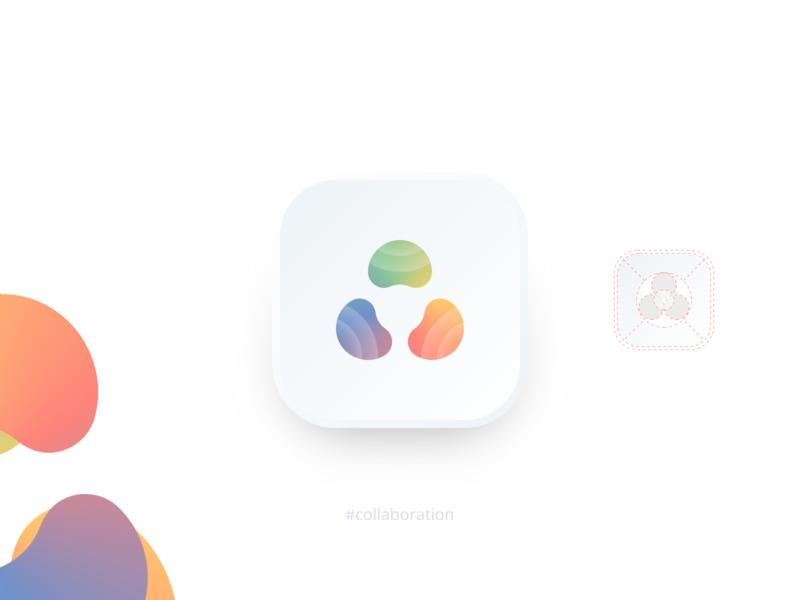 Collaboration icon web design clean minimal mark symbol mobile gradient logo vector illustration app color palette collaboration icon design icon