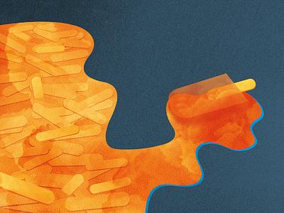Ice cream illustration art ice cream orange illu illustration pixel