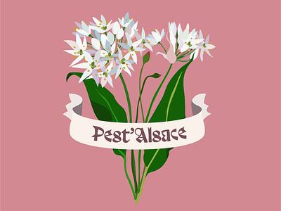 Pest'Alsace vector vegetation vegetal typeface branding illustrator illu packaging food pesto illustration logo