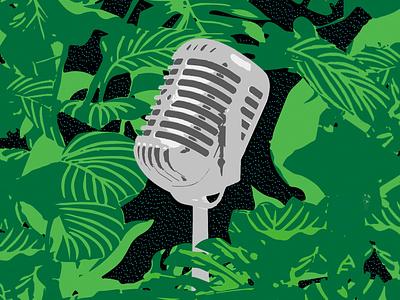Cultures Sauvages night design illu illustrator podcast microphone jungle illustration