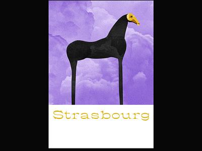 Strasbourg artwork gold mask smoke horse illustrator poster illu purple sculpture art illustration